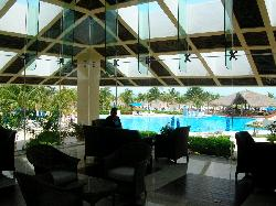 View of the pool from inside the lobby