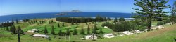 Panorama from QE Lookout over Quality Row, Golf Course, Emily Bay and out to the islands