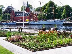 The Picassopark, in the background Halmstad´s Castle and the Ship Najaden
