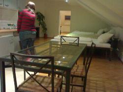 Vista opuesta de la cocina/sala de estar y el gran sofá-cama (al fondo el dormitorio doble)