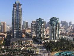 Photo taken from balcony, of city