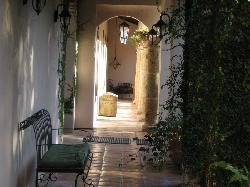 Walkway on one side of the courtyard