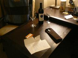 Wine card and glasses, in a dirty room!?
