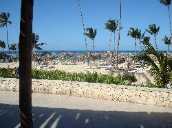 The view of the beach from the beach front buffet