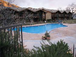 A large heated pool beckons travelers after a day of exploring the nearby national parks.
