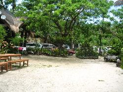 Part of the resort between the parking area and the cottages