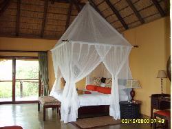 my bed at the motswiri lodge