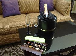 The chocolates I sent and the hotel's champagne were waiting for us when we arrived