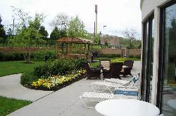 Patio area behind hotel