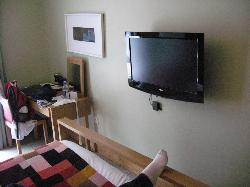 View of TV from bed
