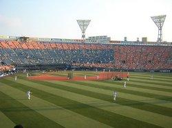 This is Yokohama Stadium. Much smaller than Yankee Stadium, it seats up to 30000.