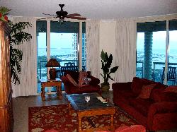 The living room and balcony view