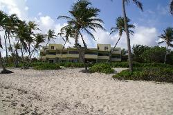 View of one of the hotel buildings from the beach