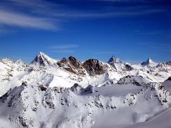 The view from Mont Fort (3330 m) to Dent Blanche (4356 m), Matterhorn (4478 m) and Dent d'Hérens (21021403)
