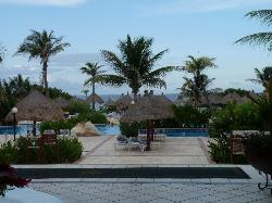 View from lobby towards pool and beach