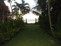 view from garden fale to ocean (note: beach fales in front)
