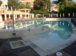 incredible travertine pool, in middle of beautiful gardens