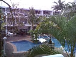 looking over the pool from the balcony