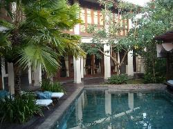 the pool and secluded courtyard