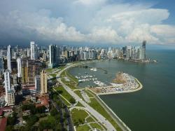 Panoramic view of Panama City's Coastal Highway from the 52nd floor of the Destiny Tower on Balb (23177919)