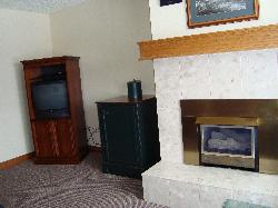 Living space with small fireplace