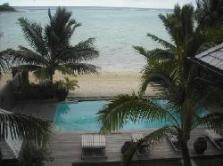 The view of the pool from our villa balcony