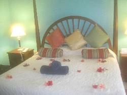 Our bed, decorated with flowers for our honeymoon (foggy camera from humidity)