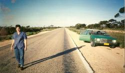 Australia,s longest straight road..look at our lovely car,that got us all around..