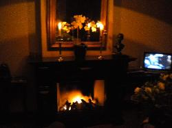 enjoy the open fire in the room