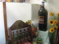 shop window with famous Bulgarian Cherga wine