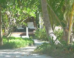 loungers on beach villa decking