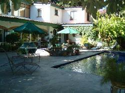 Relaxing pool side in beautiful garden