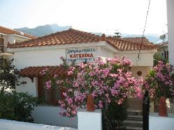 Eingang und das Ferienhaus im Garten