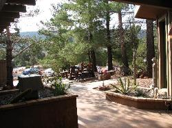 one of the entry patios