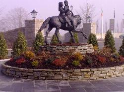 Bronze statue outside hotel