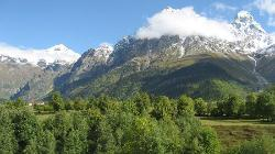 Grand Hotel Ushba and Mt. Ushba (4710 m)
