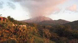 volcano at sunset