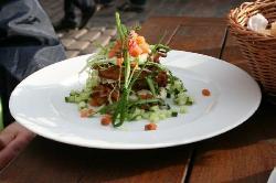 Potatoe roesti with fresh salmon