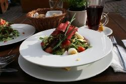 Mixed sals with the perfect beef carpaccio