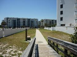 Looking back from beach access towards the complex.