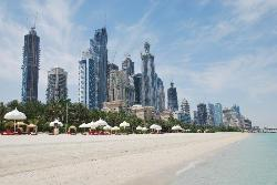 The private beach and sky line
