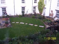 View from room window into inner courtyard