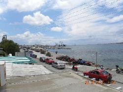 view to Parikia port area from balcony at Alexandra's Rooms