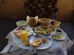 My breakfast in the garden of Aegina Hotel
