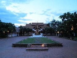 The entrance of the Hotel in the evening
