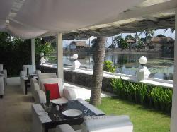 The restaurant backs onto a lagoon