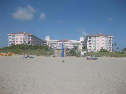 View of resort from beach.