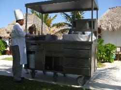 yep, a burger and fry cart comes around everyday!
