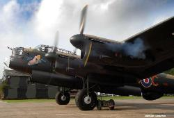 The Lancaster starting up its engines