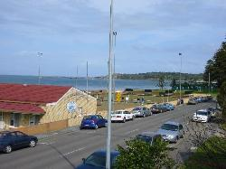 View from apartment to granite island